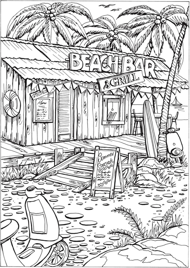 7 Free Printable Coloring Pages for Adults and Children - Beach Bar - EverythingEtsy