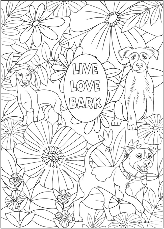 7 Free Printable Coloring Pages for Adults and Children - Dog Lover - EverythingEtsy