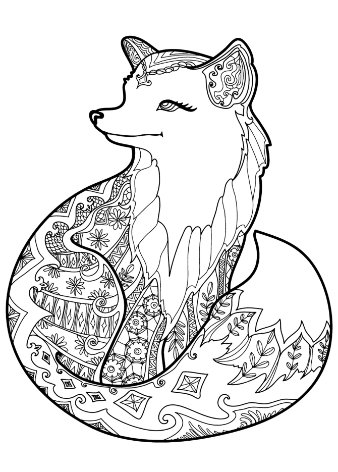 7 Free Printable Coloring Pages for Adults and Children - Fox - EverythingEtsy