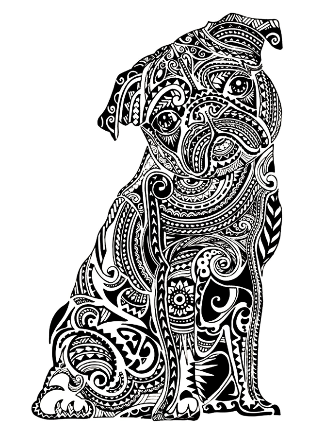 7 Free Printable Coloring Pages for Adults and Children - Pug - EverythingEtsy