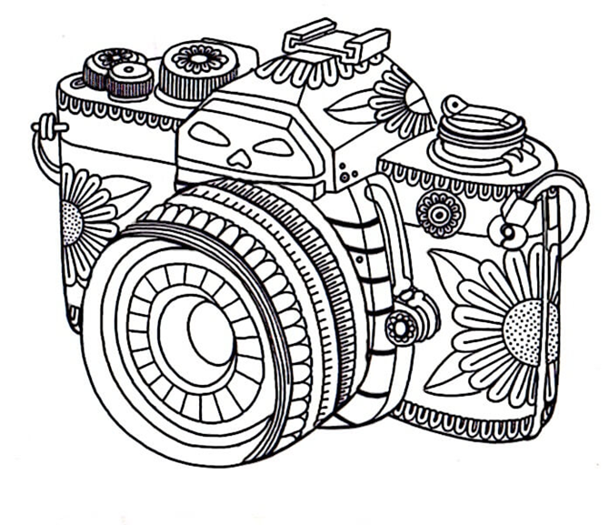 7 Free Printable Coloring Pages for Adults and Children - camera - EverythingEtsy