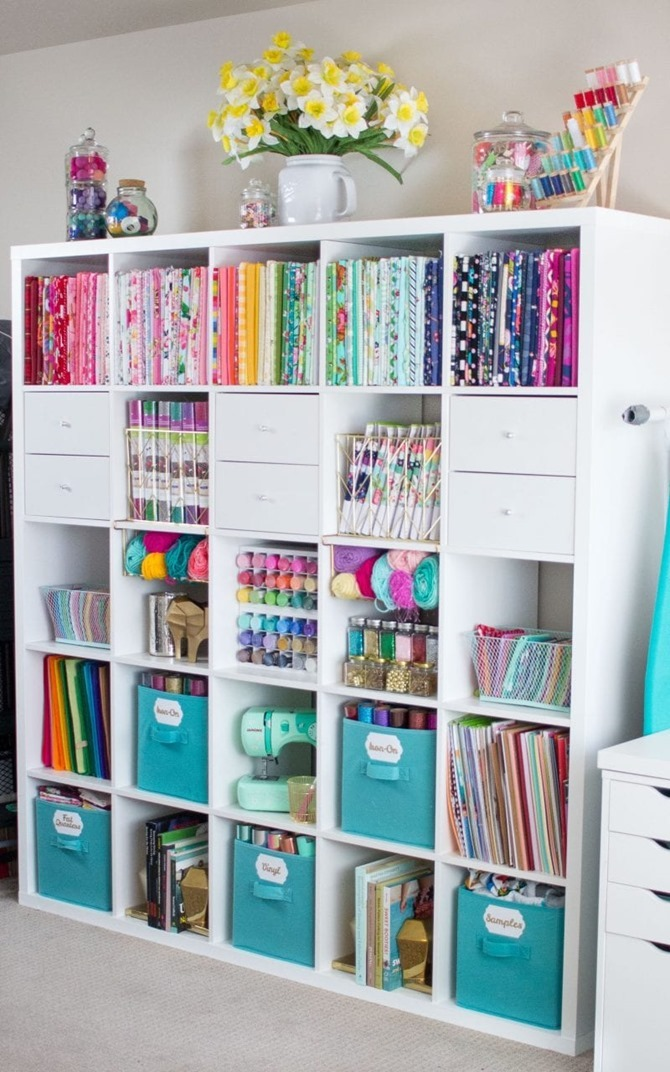Colorful craft room storage ideas - sweet red poppy