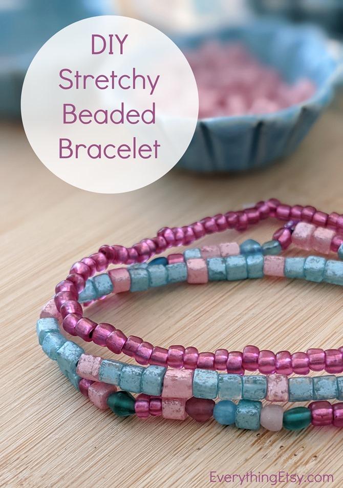 DIY Easy Stretchy Beaded Bracelet - Handmade Gift Idea on Everything Etsy