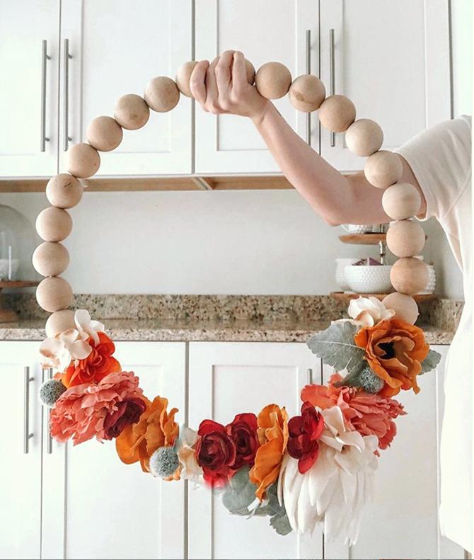 DIY Fall Wood Bead Flower Wreath - EverythingEtsy