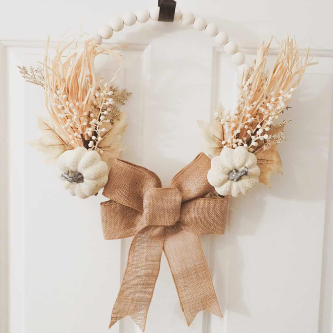 Fall Wood Bead Wreath - DIY Ideas on EverythingEtsy
