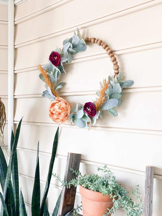 Fall Wood Bead Wreath - Inspiring Designs and DIY Ideas on EverythingEtsy