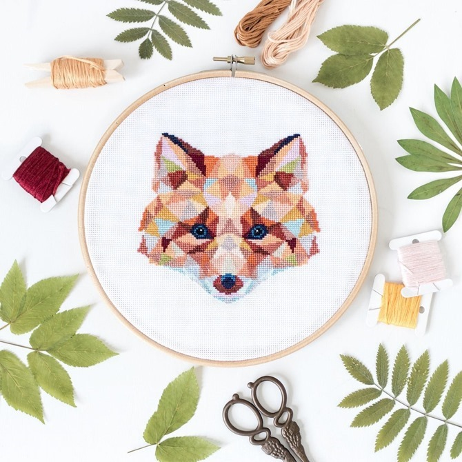 Fox embroidery pattern kit on Etsy