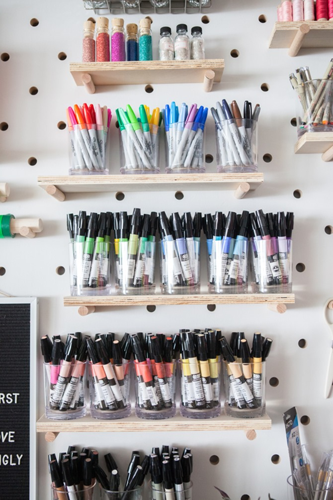 colorful craft room organization - oh happy day