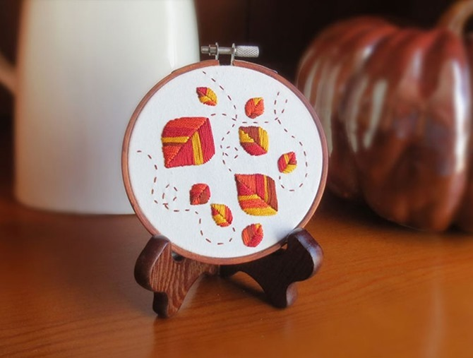 5 Free Fall Embroidery Patterns - Autumn Leaves - Everything Etsy