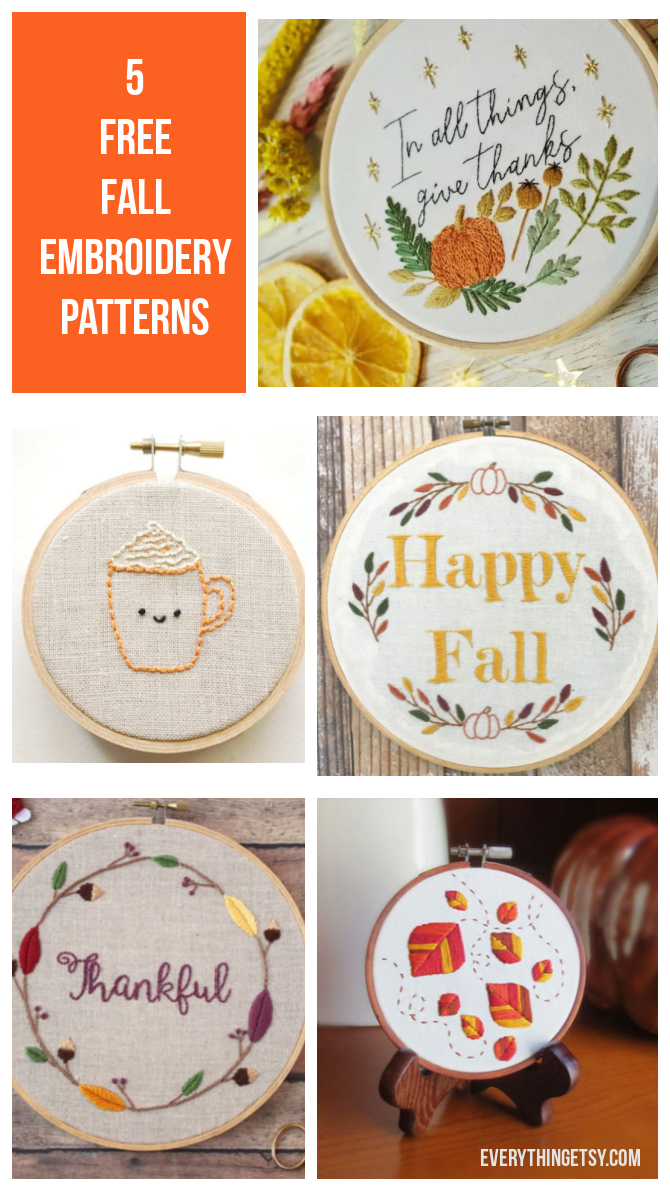 5 Free Fall Embroidery Patterns - Everything Etsy