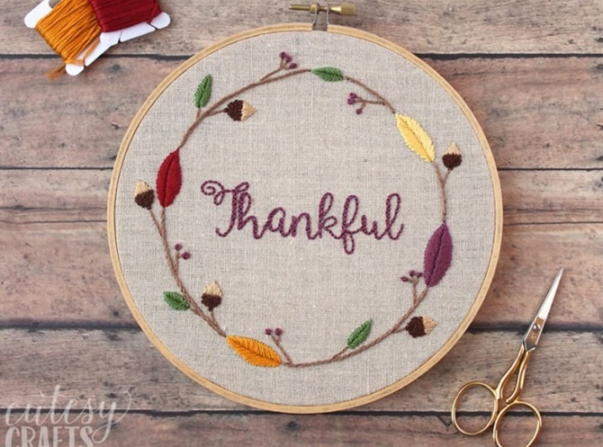5 Free Fall Embroidery Patterns - Thankful - Everything Etsy