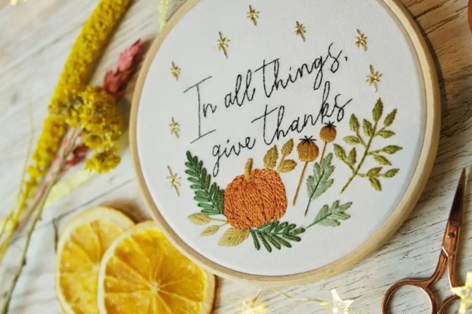 5 Free Fall Embroidery Patterns - Thanksgiving - Everything Etsy