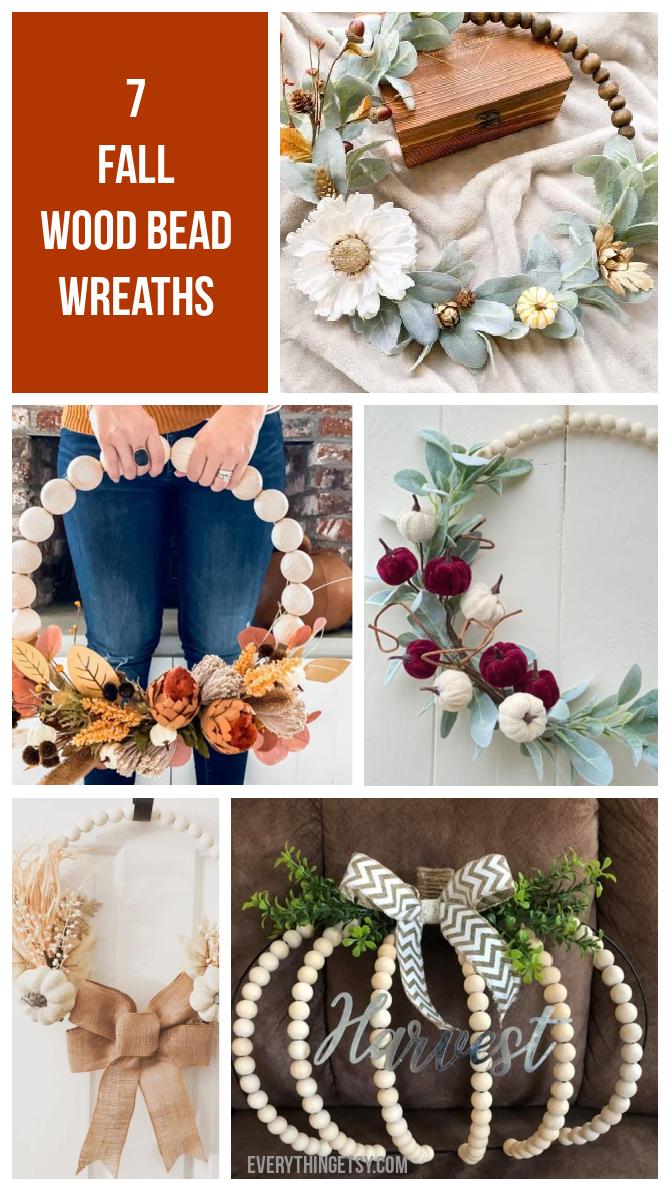 7 Fall Wood Bead Wreaths - DIY Inspiration and Ideas -  EverythingEtsy.com (1)