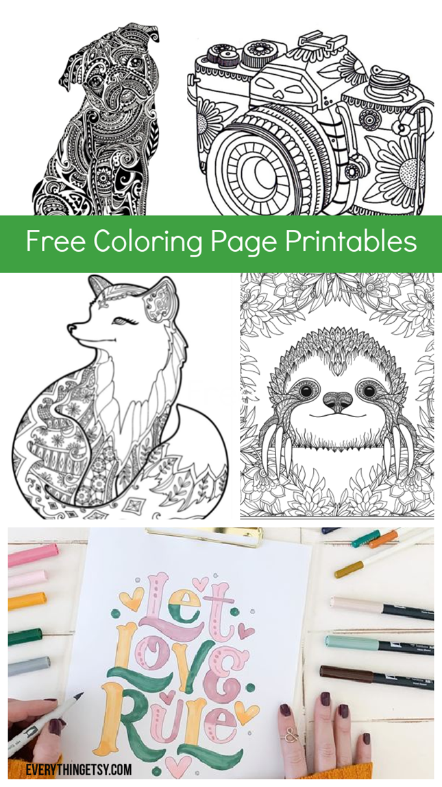7 Free Coloring Pages for Adults and Children - Cheerful Designs on EverythingEtsy.com