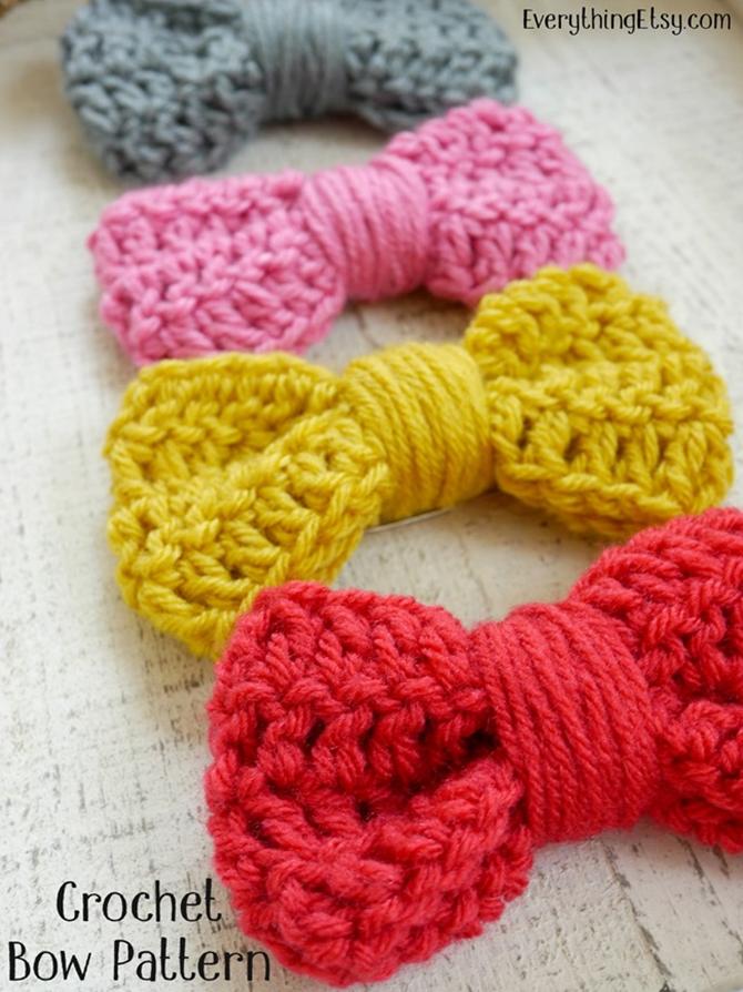 Crochet Bow Pattern - Gift Topper, Hair Bow - EverythingEtsy