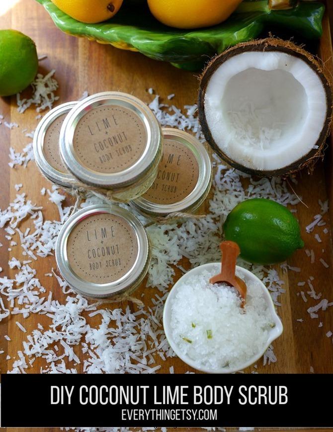 DIY Coconut Lime Body Scrub with Free Printable Label on EverythingEtsy.com