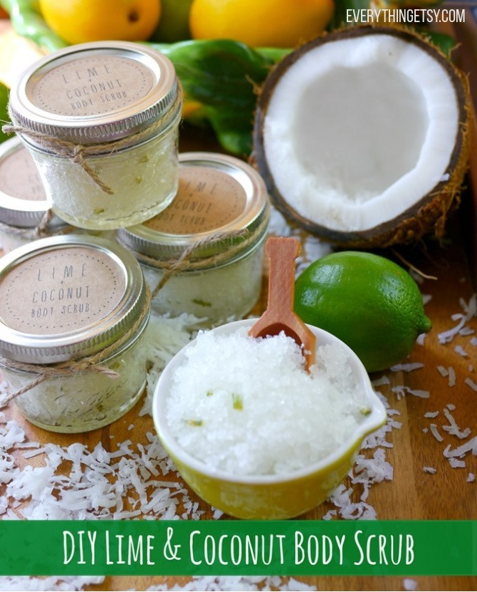 DIY Coconut Lime Sugar Scrub - Handmade Gift Idea - EverythingEtsy.com