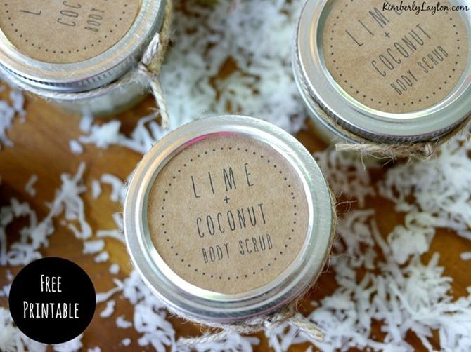 Free Coconut Lime Sugar Scrub Printable Label - Handmade Gift and Printable on EverythingEtsy.com